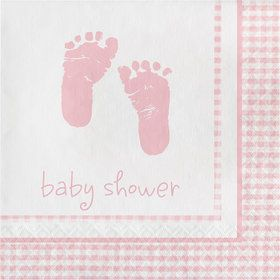 Sweet Baby Feet Pink Beverage Napkins (16 Pack)