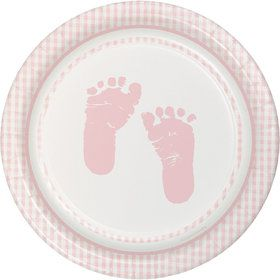 Sweet Baby Feet Pink Cake Plates (8 Pack)
