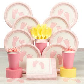 Sweet Baby Feet Pink Party Deluxe Tableware Kit Serves 8