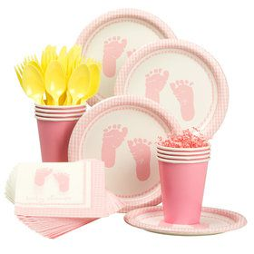 Sweet Baby Feet Pink Party Standard Tableware Kit Serves 8