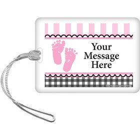 Sweet Baby Feet Pink Personalized Luggage Tag (Each)