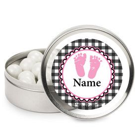 Sweet Baby Feet Pink Personalized Mint Tins (12 Pack)
