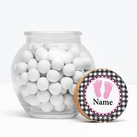 "Sweet Baby Feet PinkPersonalized 3"" Glass Sphere Jars (Set of 12)"