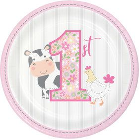 Sweet Farmhouse 1st Birthday Dessert Plates (8)
