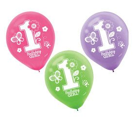Sweet Girl 1st Birthday Latex Balloons (15)