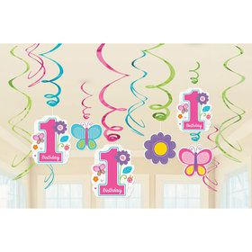 Sweet Girl 1st Birthday Swirl Decorations  (12)