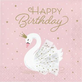 Sweet Swan Happy Birthday Lunch Napkins (16)