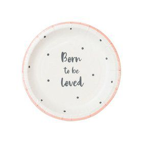 Talking Tables Pink Born To Be Loved Dessert Plate (12)