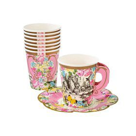 Talking Tables Truly Alice Cup Set With Handle & Saucers