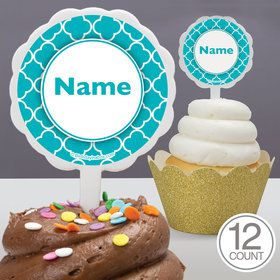 Teal Quatrefoil Personalized Cupcake Picks (12 Count)E