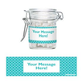 Teal Quatrefoil Personalized Glass Apothecary Jars (12 Count)E