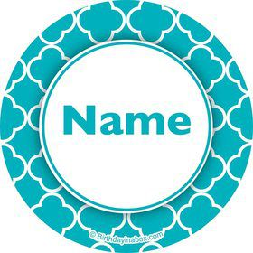 Teal Quatrefoil Personalized Mini Stickers (Sheet of 20)