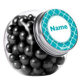 Teal Quatrefoil Personalized Plain Glass Jars (12 Count)