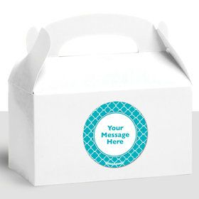Teal Quatrefoil Personalized Treat Favor Boxes (12 Count)E