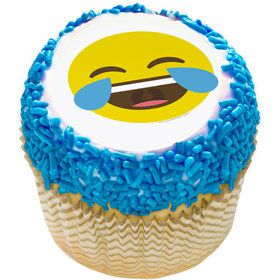 "Tears of Joy Emoji 2"" Edible Cupcake Topper (12 Images)"
