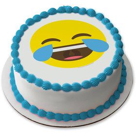 "Tears of Joy Emoji 7.5"" Round Edible Cake Topper (Each)"