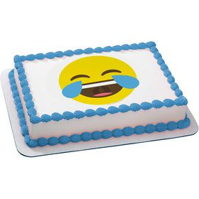 Tears of Joy Emoji Quarter Sheet Edible Cake Topper (Each)