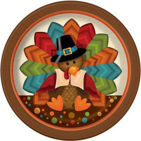 "Thankful Turkey 7"" Cake Plate (8 Count)"