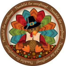 "Thankful Turkey 9"" luncheon Plate (8 Count)"