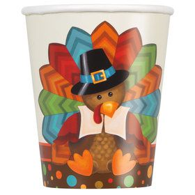 Thankful Turkey 9oz Cups (8 Count)