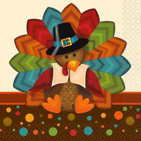 Thankful Turkey Beverage Napkins (16 Count)