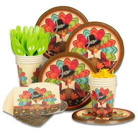 Thankful Turkey Standard Thanksgiving Tableware Kit (Serves 8)