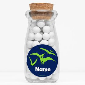 "The Friendly Dinosaur Personalized 4"" Glass Milk Jars (Set of 12)"