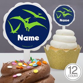The Friendly Dinosaur Personalized Cupcake Picks (12 Count)