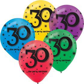 "The Party Continues 30th Birthday 12"" Latex Balloon (15 Pack)"
