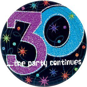 The Party Continues 30th Birthday Cake Plates (8 Count)