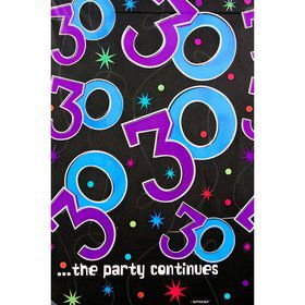The Party Continues 30th Birthday Plastic Table Cover