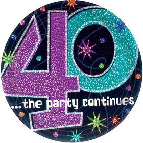 "The Party Continues 40th Birthday 9"" Dinner Plates (8 Pack)"