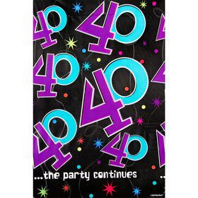 The Party Continues 40th Birthday Plastic Table Cover