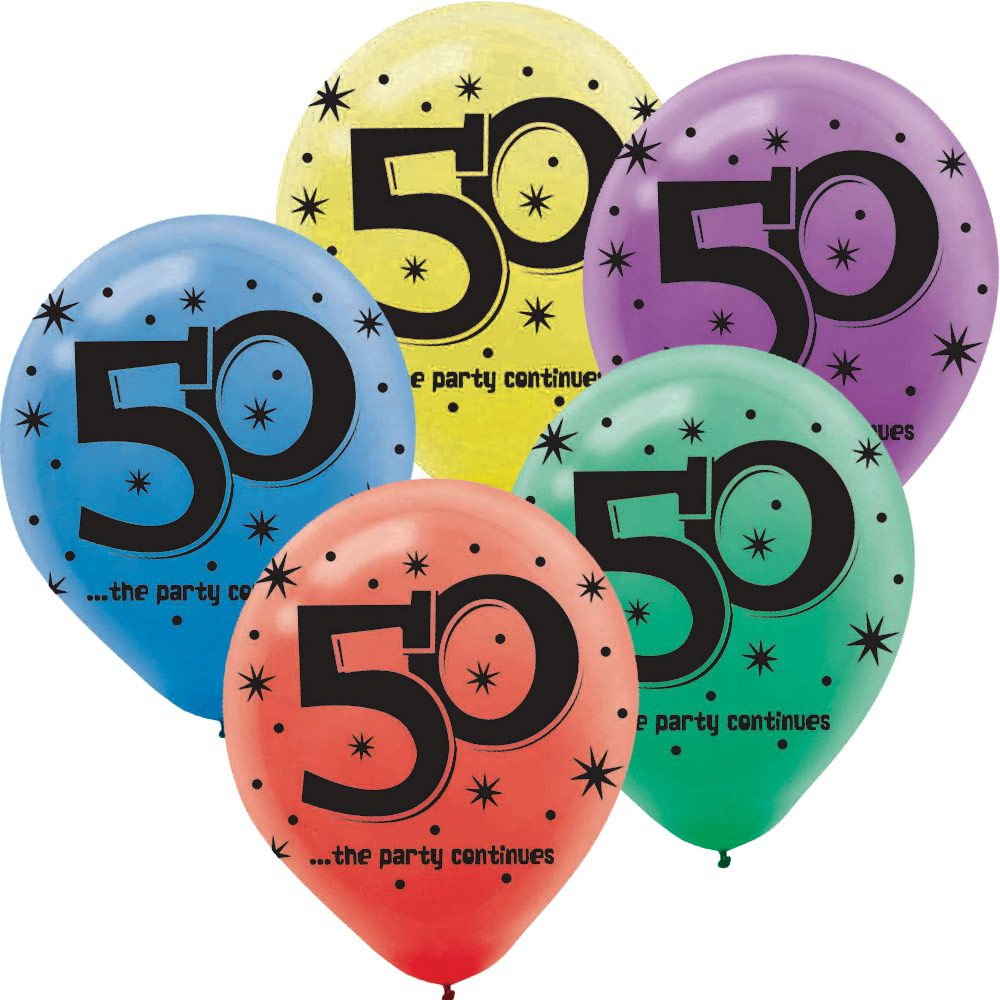 The Birthday Party Supplies Continues 50th Birthday 1Latex Balloon (15 Pack)