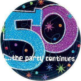 The Party Continues 50th Birthday Cake Plates (8 Count)