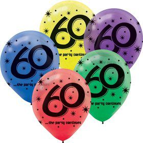 "The Party Continues 60th Birthday 12"" Latex Balloons (15 Pack)"