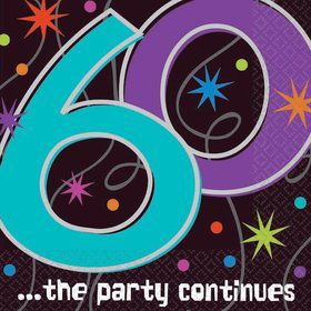 The Party Continues 60th Birthday Beverage Napkins