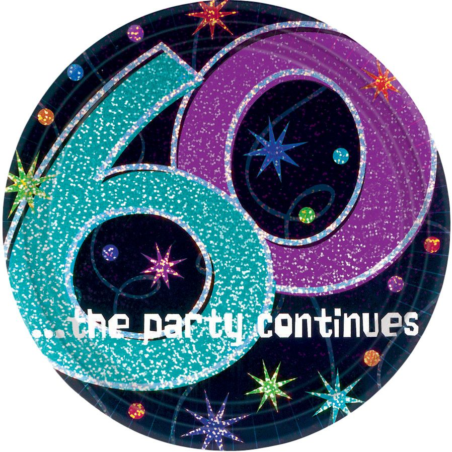 The Party Continues 60th Birthday Cake Plates (8 Count) BB103458