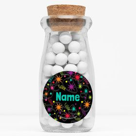 """The Party Continues Personalized 4"""" Glass Milk Jars (Set of 12)"""