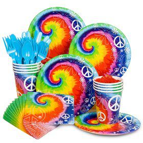 Tie Dye 60s Birthday Party Standard Tableware Kit Serves 8
