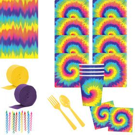 Tie Dye 60s Deluxe Tableware Kit (Serves 8)