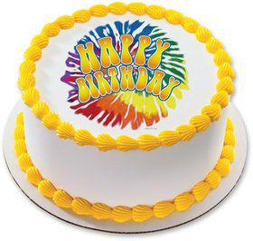 "Tie Dye 7.5"" Round Edible Cake Topper (Each)"