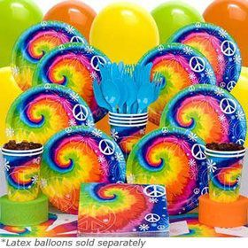 Tie Dye Birthday Party Deluxe Tableware Kit Serves 8