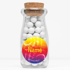 "Tie Dye Fun Personalized 4"" Glass Milk Jars (Set of 12)"