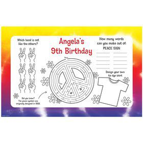 Tie Dye Fun Personalized Activity Mats (8-Pack)