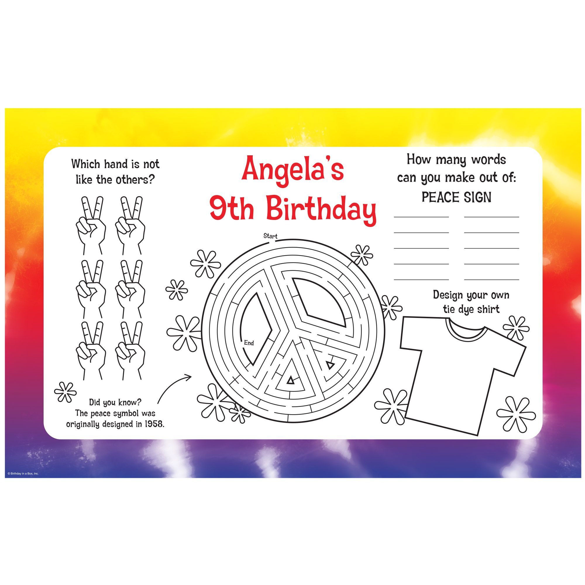 Tie Dye Fun Personalized Activity Mats (8-Pack) - Party Supplies BB102431
