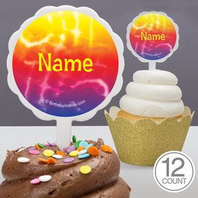 Tie Dye Fun Personalized Cupcake Picks (12 Count)