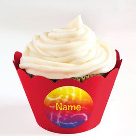 Tie Dye Fun Personalized Cupcake Wrappers (Set of 24)