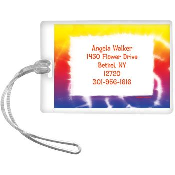 Tie Dye Fun Personalized Luggage Tag (each) - Party Supplies BB016277