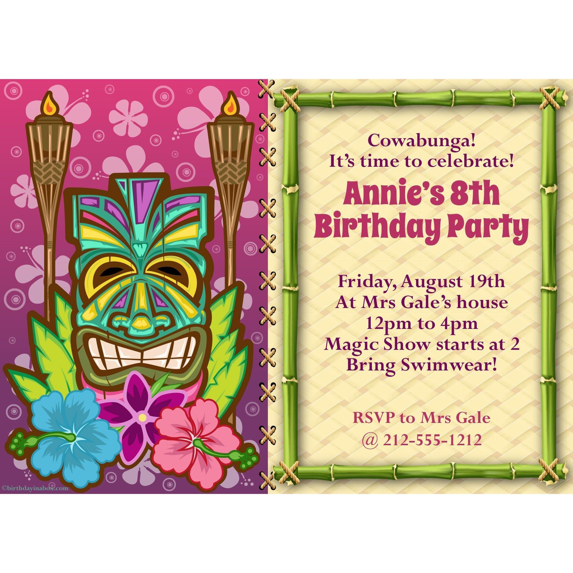 Tiki Party Invitation - Custom Invitations & Party Supplies